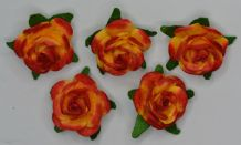 2.5cm RED YELLOW Mulberry Paper Roses (only flower head)